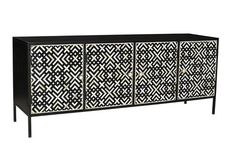 Geo Pattern Black And White Bone Inlay Sideboard | Living Spaces .