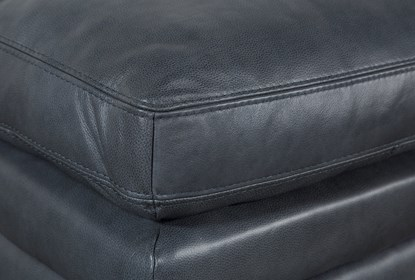 Gina Blue Leather Ottoman | Living Spac