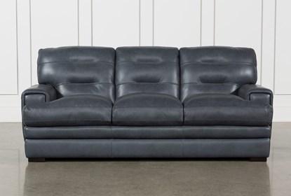 Gina Blue Leather Sofa | Living Spac
