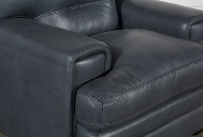 Gina Blue Leather Chair | Living Spac