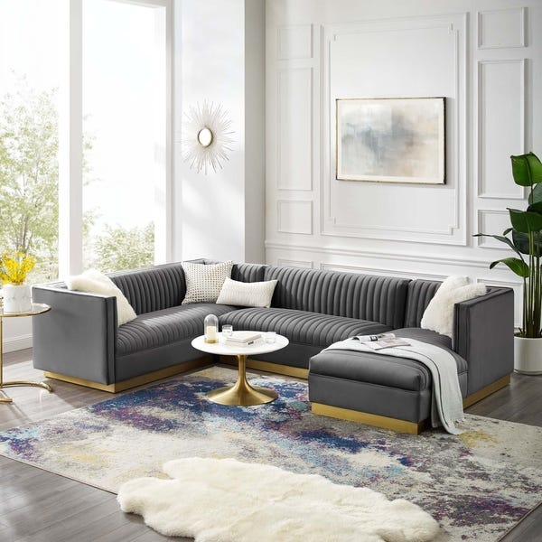 Shop Glamour 3 Piece Performance Velvet Sectional Sofa Set .