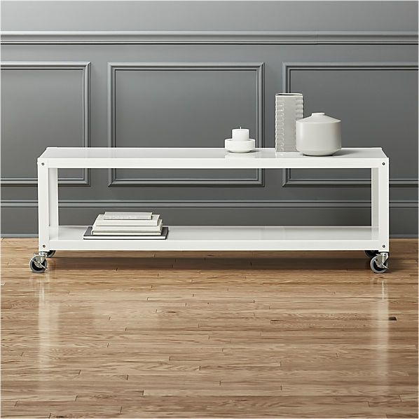 go-cart white rolling tv stand/coffee table | CB2 | Rolling tv .