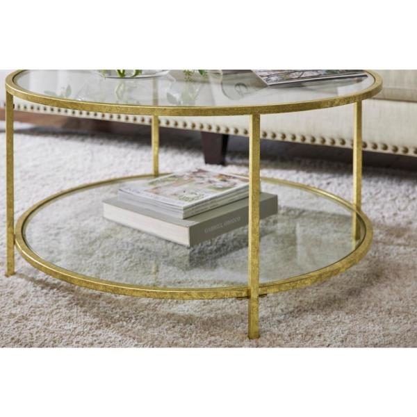 Home Decorators Collection Bella Round Gold Leaf Metal and Glass .