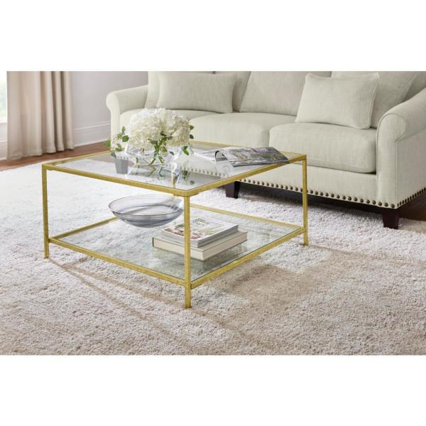 Home Decorators Collection Bella Square Gold Leaf Metal and Glass .