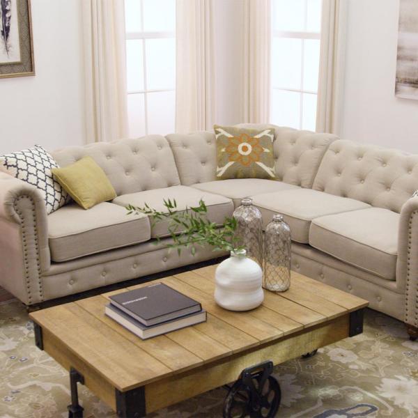 Home Decorators Collection Gordon 3-Piece Natural Linen Sectional .