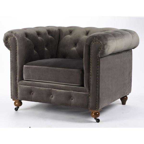 Home Decorators Collection Gordon Grey Velvet Arm Chair 0849600120 .