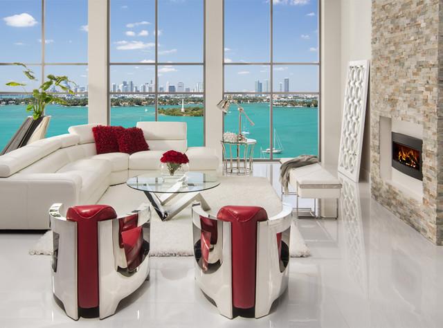 Grace Sofa meets Aviator Chairs - Modern - Living Room - Miami .