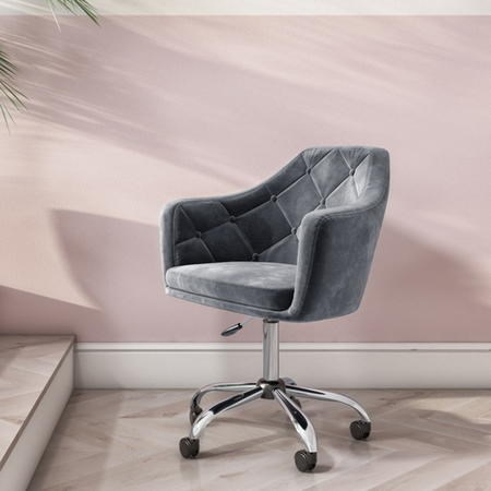 Marley Grey Velvet Office Swivel Chair with Button Back £129 in .