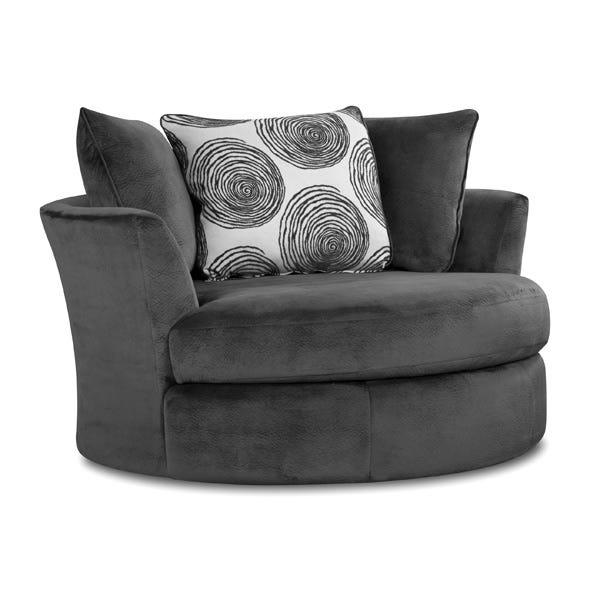 Groovy Smoke Gray Padded Microfiber Swivel Chair   Weekends Only .
