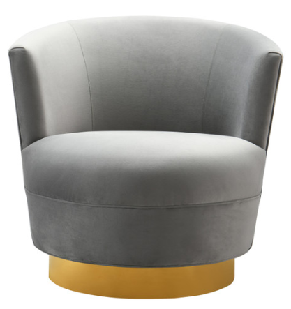 Grey Swivel Chair with Gold Base – Laura of Pembro