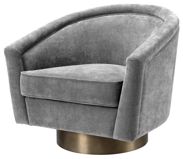 Grey Velvet Swivel Chair   Eichholtz Catene - Contemporary .