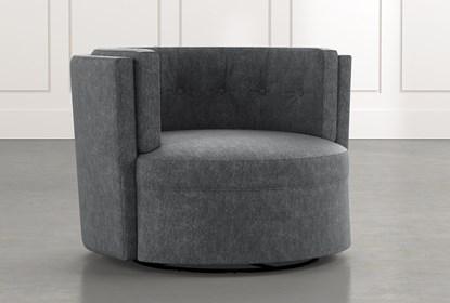 Aidan II Dark Grey Swivel Accent Chair   Living Spac