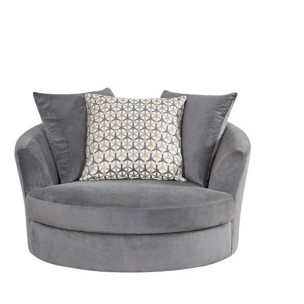 Shop Abbyson Tanya Grey Fabric Round Swivel Chair - Overstock .