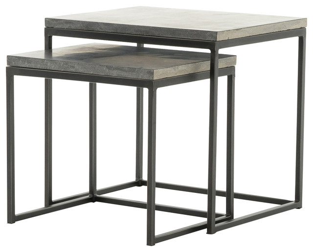 "20"" Diana Nesting End Tables Side Table Iron Bluestone Gunmetal ."