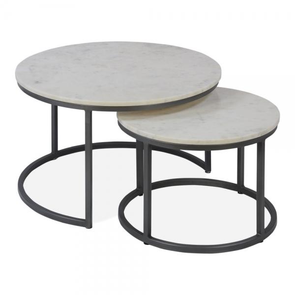 Gunmetal Madison Nest of 2 Tables | Nesting Side Tabl