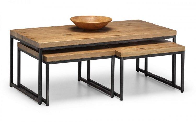 Brooklyn Oak Nesting Coffee Tables - Oak / Gunmet