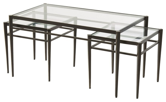 Lescot Dark Gunmetal Bronze Coffee Table and Nesting Tables with .