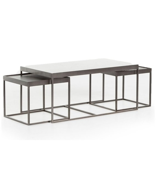 "Don't Miss Sales on 36"" L Tullio Nesting Coffee Table Iron Marble ."