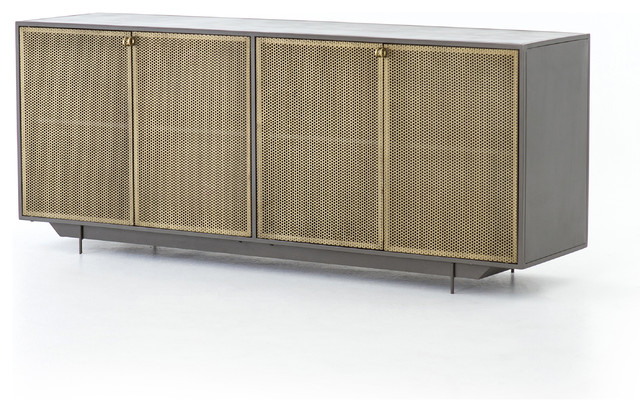 "73"" Fedele Sideboard Metal Perforated Brass Gunmetal Contemporary ."