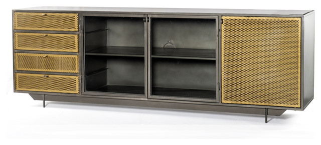"83"" L Romolo Media Console Iron Glass Perforated Brass Clear ."