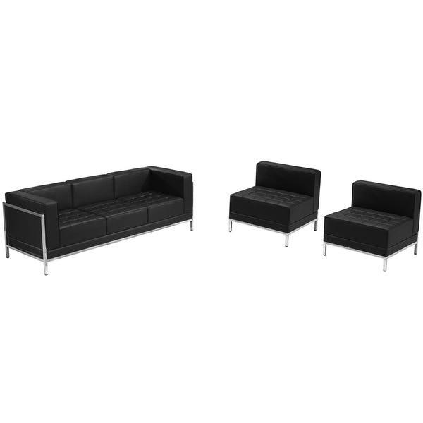 "Shop Chancellor ""Gwen"" Black Leather Sofa & Chair Set 13, 3pcs ."