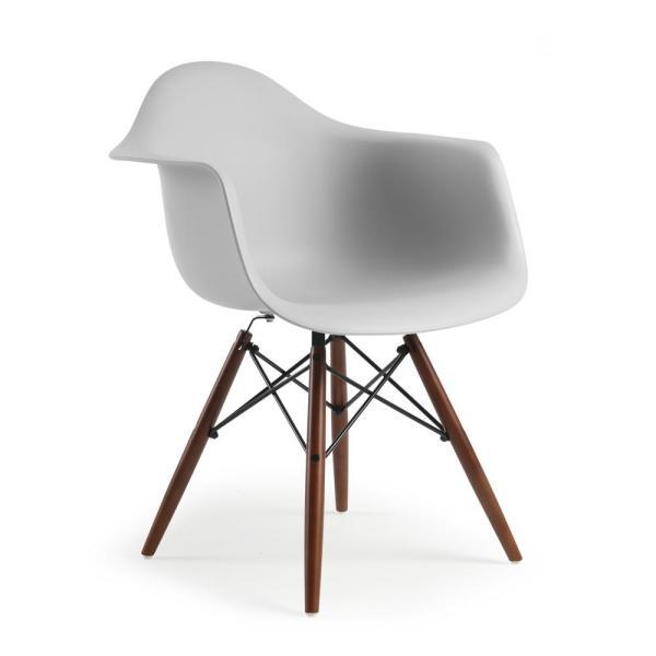 Poly and Bark Vortex Arm Chair Walnut Leg in Harbor Grey HD-110 .
