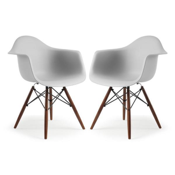 Poly and Bark Vortex Harbor Grey Arm Chair Walnut Leg (Set of 2 .