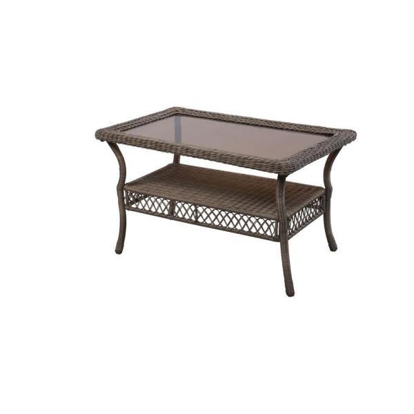 Hampton Bay Spring Haven Grey Wicker Outdoor Patio Coffee Table 65 .