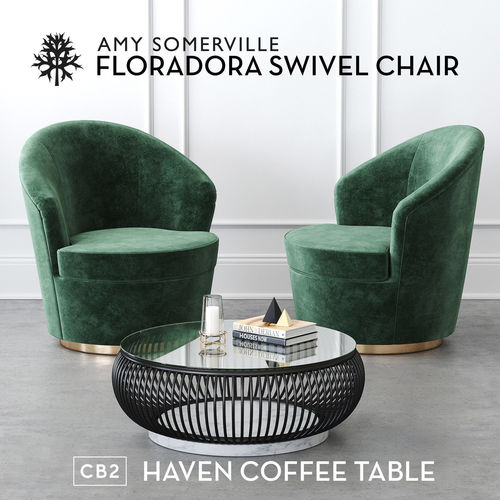 Floradora Swivel chair with CB2 Haven coffee table