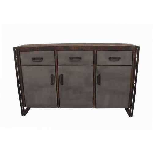Abran 3 Door 3 Drawer Industrial Sideboard/Buffet – Rustic Ed