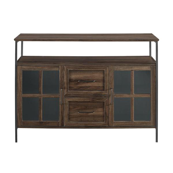 Welwick Designs Industrial Dark Walnut 3-Door Buffet HD8190 - The .