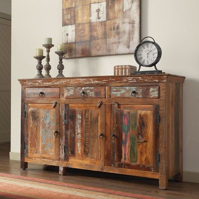 World Menagerie Karter Reclaimed Wood 3 Drawer 3 Door Accent .