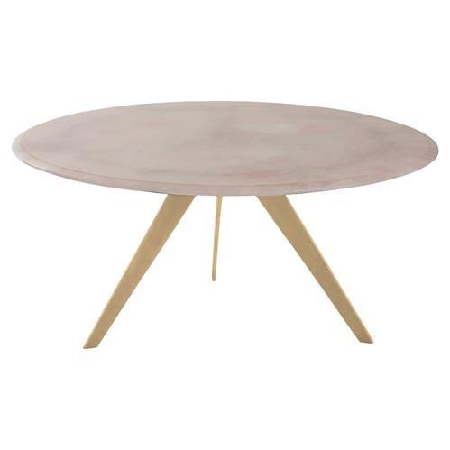 Arteriors Essex Modern Rose Quartz Gold Leaf Coffee Table | Stone .