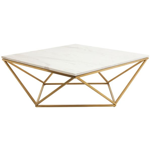 Gold Triangle Motif Marble Top Coffee Tab