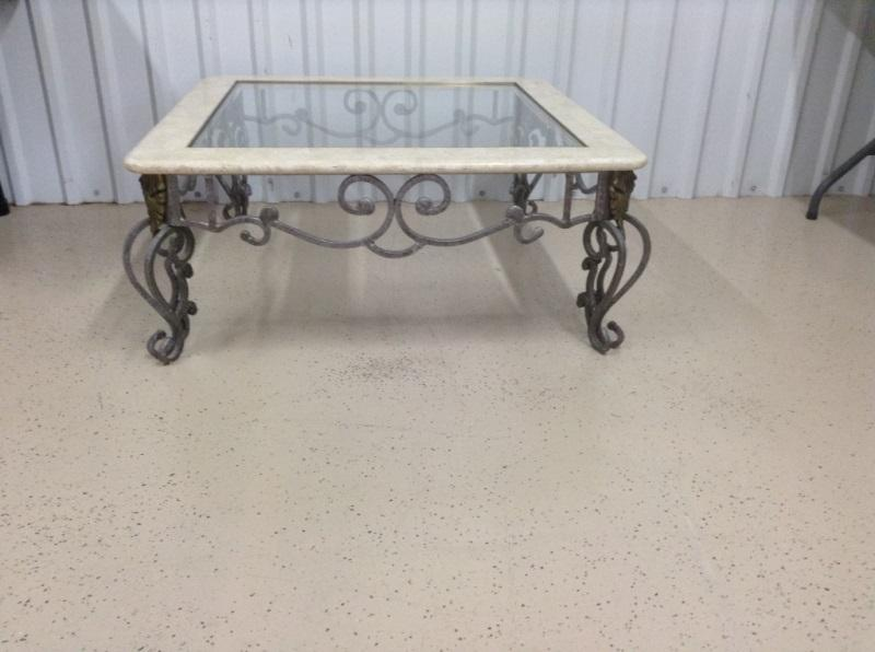 Lot #85Wrought Iron Marble And Glass Top Coffee Tab