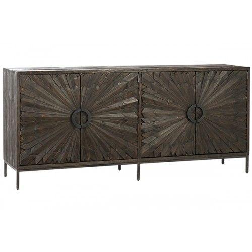 Reclaimed Dark Finish Pine Flower Door Iron Base Sideboard Cabinet .