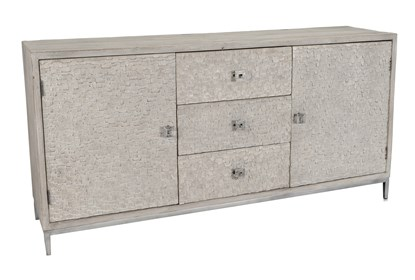Reclaimed Pine & Iron 2 Door/3 Drawer Grey Sideboard | Living Spac