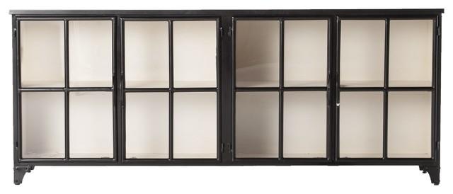 Corden Industrial Black Iron Sideboard With Glass Doors .