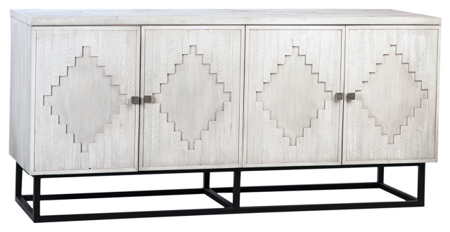 Clancy White Wash and Iron Wood Sideboard - Farmhouse - Buffets .