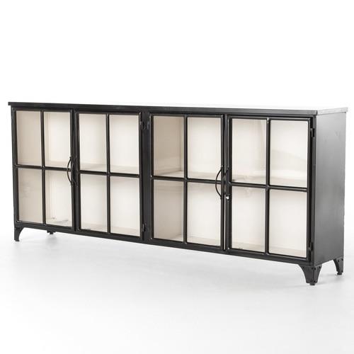 Camila Industrial Black Iron Sideboard with Glass Doors | Zin Ho