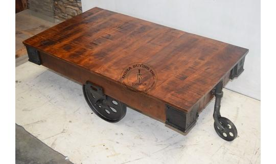 INDUSTRIAL IRON WOODEN TROLLEY WITH CAST IRON WHEEL .
