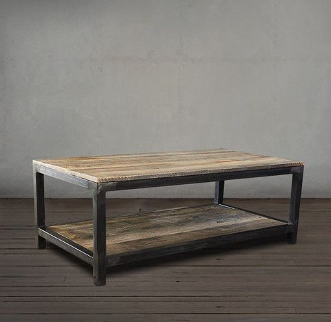 Reclaimed Wood and Metal Coffee Table Two Tier | Coffee table wood .