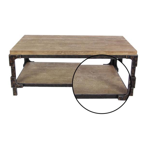 Litton Lane 2-Shelf Wooden Coffee Table 85999 - The Home Dep