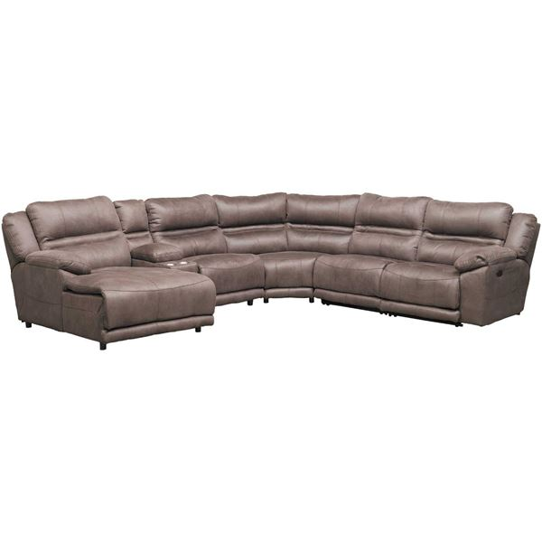 Braxton 6 Piece Power Reclining Sectional With Adjustable Headrest .
