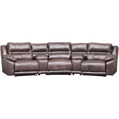 Bergamo 6 Piece Power Reclining Sectional with Adjustable Headrest .