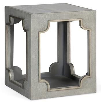 Perkins Regency Grey Faux Shagreen Hollow End Table | Geometric .