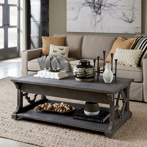 Shop Norwood Rustic Grey Lift Top Coffee Table with Casters .