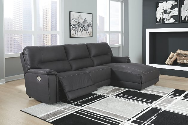 Henefer 3-Piece Power Reclining Sectional with Chaise   Ashley .