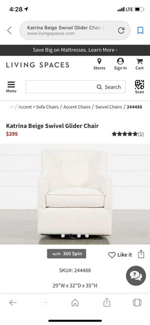Katrina Beige Cream Swivel Glider Chair Living Spaces for Sale in .