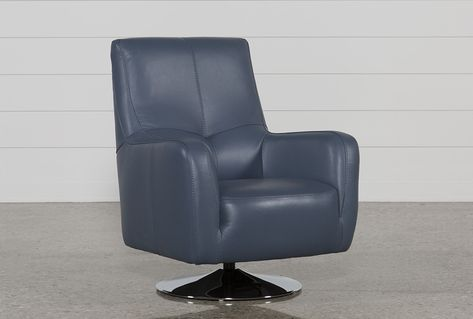 Kawai Swivel Chair, Blue | Leather swivel chair, White leather .